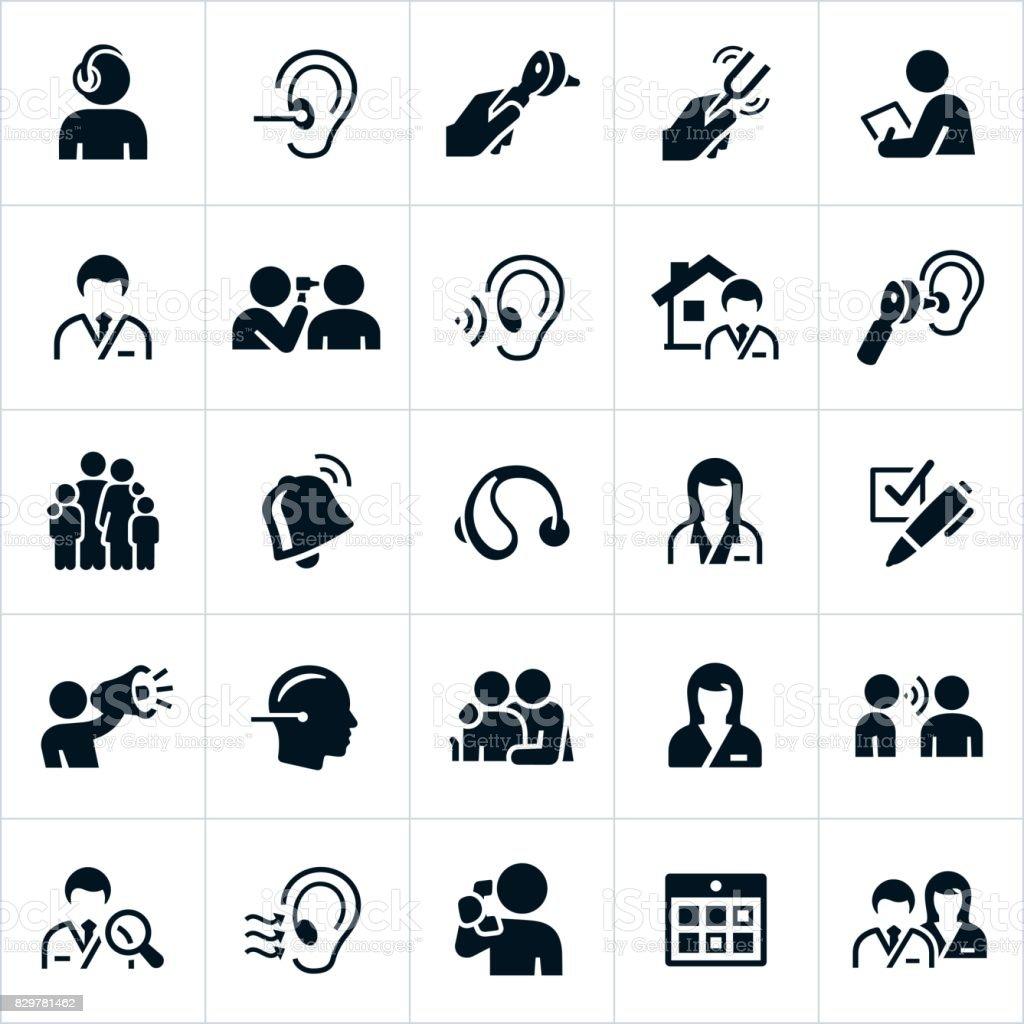 Audiología y los iconos de vista - ilustración de arte vectorial