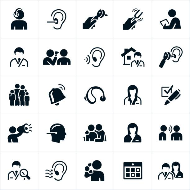 illustrazioni stock, clip art, cartoni animati e icone di tendenza di audiology and hearing icons - paziente