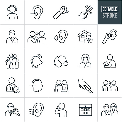Audiology Thin Line Icons - Editable Stroke