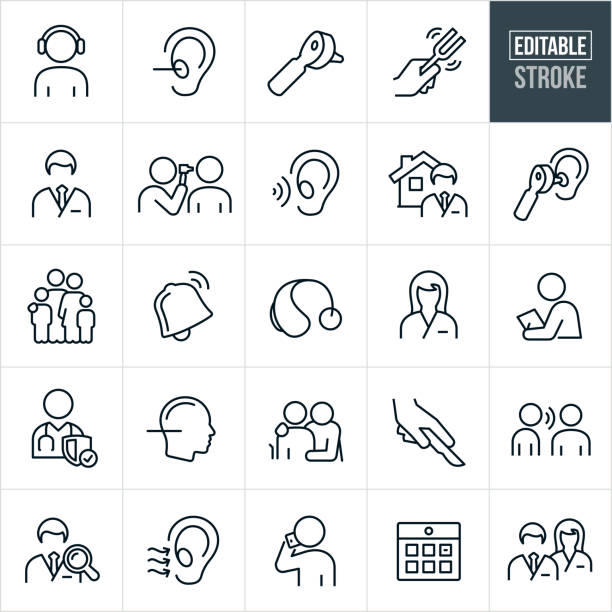 Audiology Thin Line Icons - Editable Stroke A set of audiology icons that include editable strokes or outlines using the EPS vector file. The icons include an audiologist, patient getting a hearing text, human ear, otoscope, tuning fork, doctor, medical exam, family, hearing aid, nurse, listening ear, doctor search, person talking on a mobile phone, calendar and other related icons. listening stock illustrations