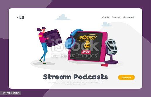 istock Audioprogram Livestream, Entertainment Online Broadcasting Studio Landing Page Template. Tiny Female at Huge Tablet 1278695321