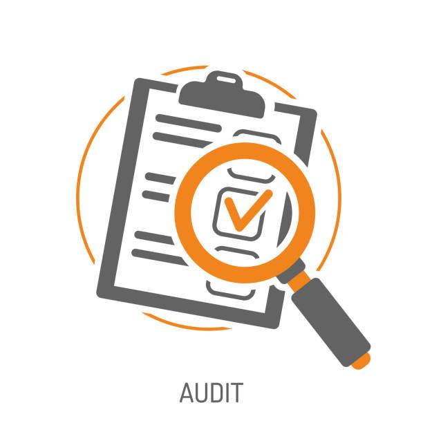 illustrazioni stock, clip art, cartoni animati e icone di tendenza di audit and test flat icon set - ispezione contabile
