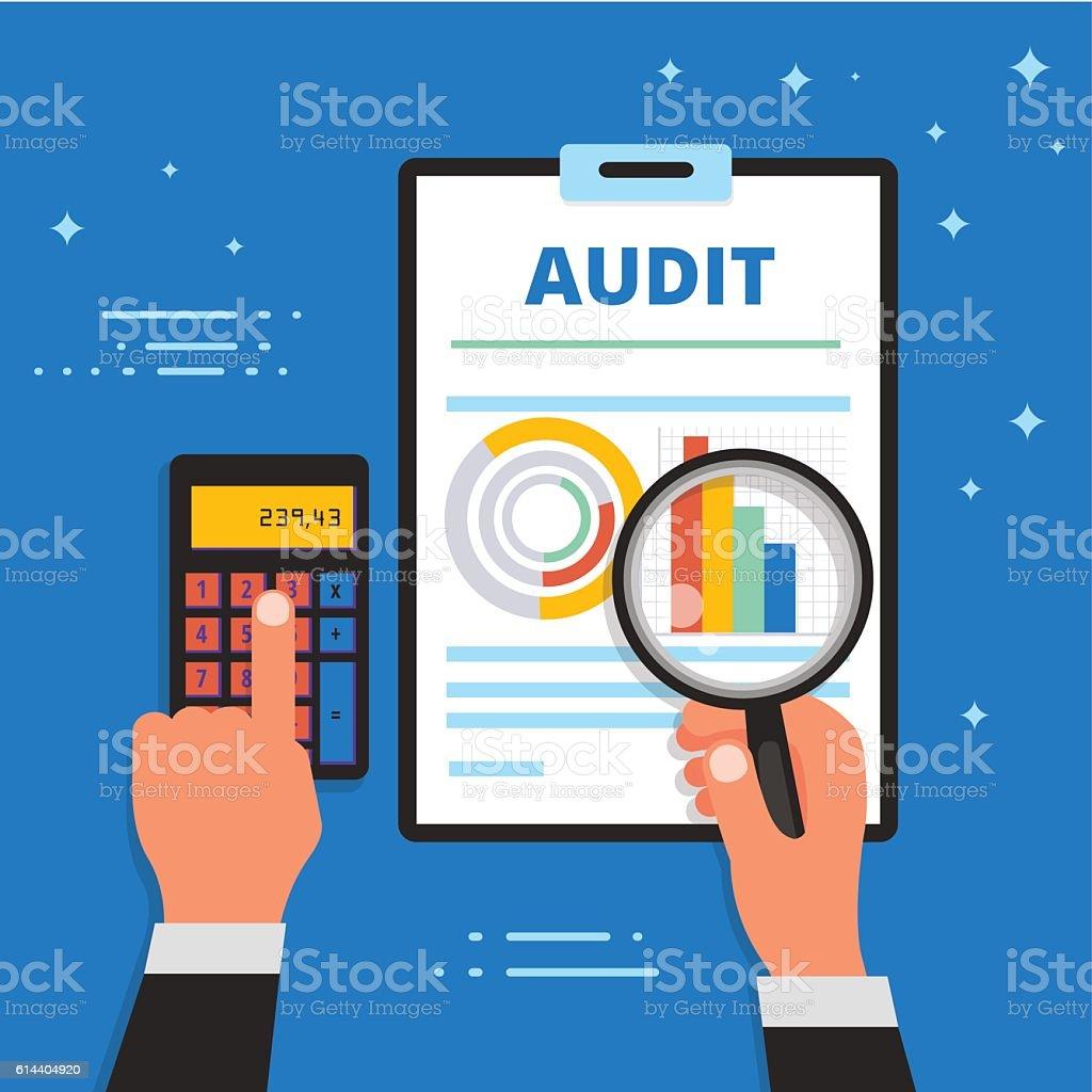 Audit, bookkeeping and financial analysis vector illustration - ilustração de arte em vetor