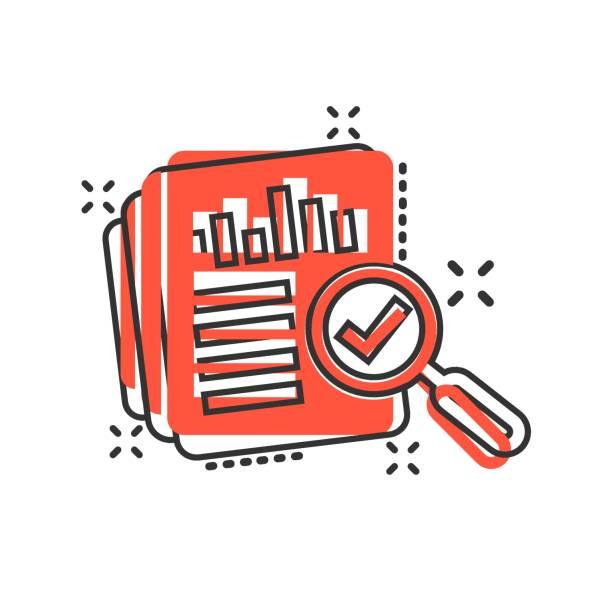überwachungsdokumentsymbol im comic-stil. ergebnisbericht vektor cartoon-illustration auf weißem isoliertem hintergrund. überprüfungssteuerungs-geschäftskonzept-splash-effekt. - splash grafiken stock-grafiken, -clipart, -cartoons und -symbole