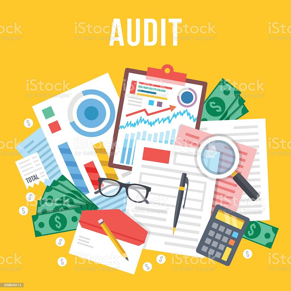 Audit, documents analysis, business review. Top view. Flat vector illustration vector art illustration