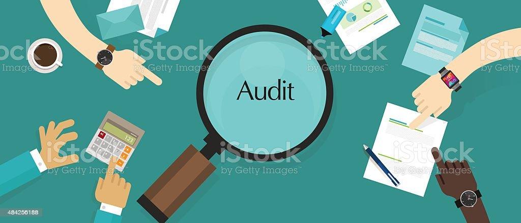 Auditoria financeira da empresa de contabilidade e administração de empresas imposto processo de investigação - ilustração de arte em vetor