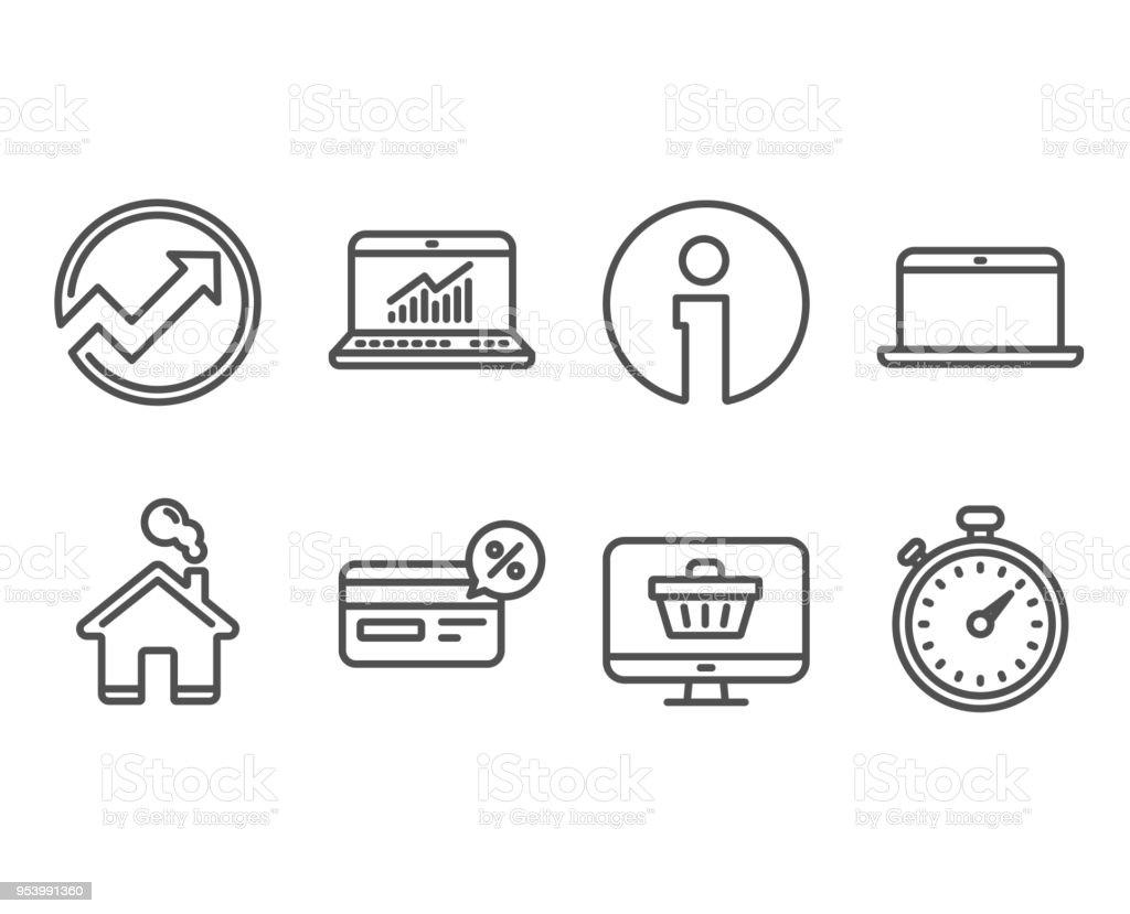 audit laptop and cashback icons web shop online statistics and timer