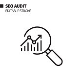 SEO Audit Line Icon, Outline Vector Symbol Illustration. Pixel Perfect, Editable Stroke.