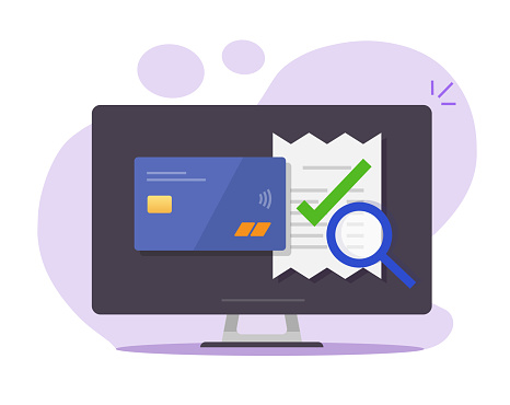 Audit online payment of invoice bill verify vector, tax financial research on computer pc, success fraud evaluation check mark, valid transaction pay receipt flat, authorized money transfer icon