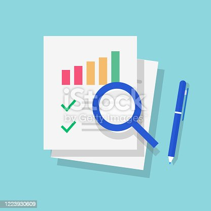 Audit report or research of sales financial data vector flat cartoon icon, tax analyze on paper sheet documents with check marks or fraud analysis, digital investigation results modern design cut out