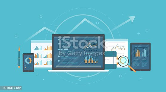 Audit, research, accounting, analysis concept. Web and online mobile service. Documents, charts graphs on screens of a laptop, phone, tablet, magnifying glass. Business background banner. Vector