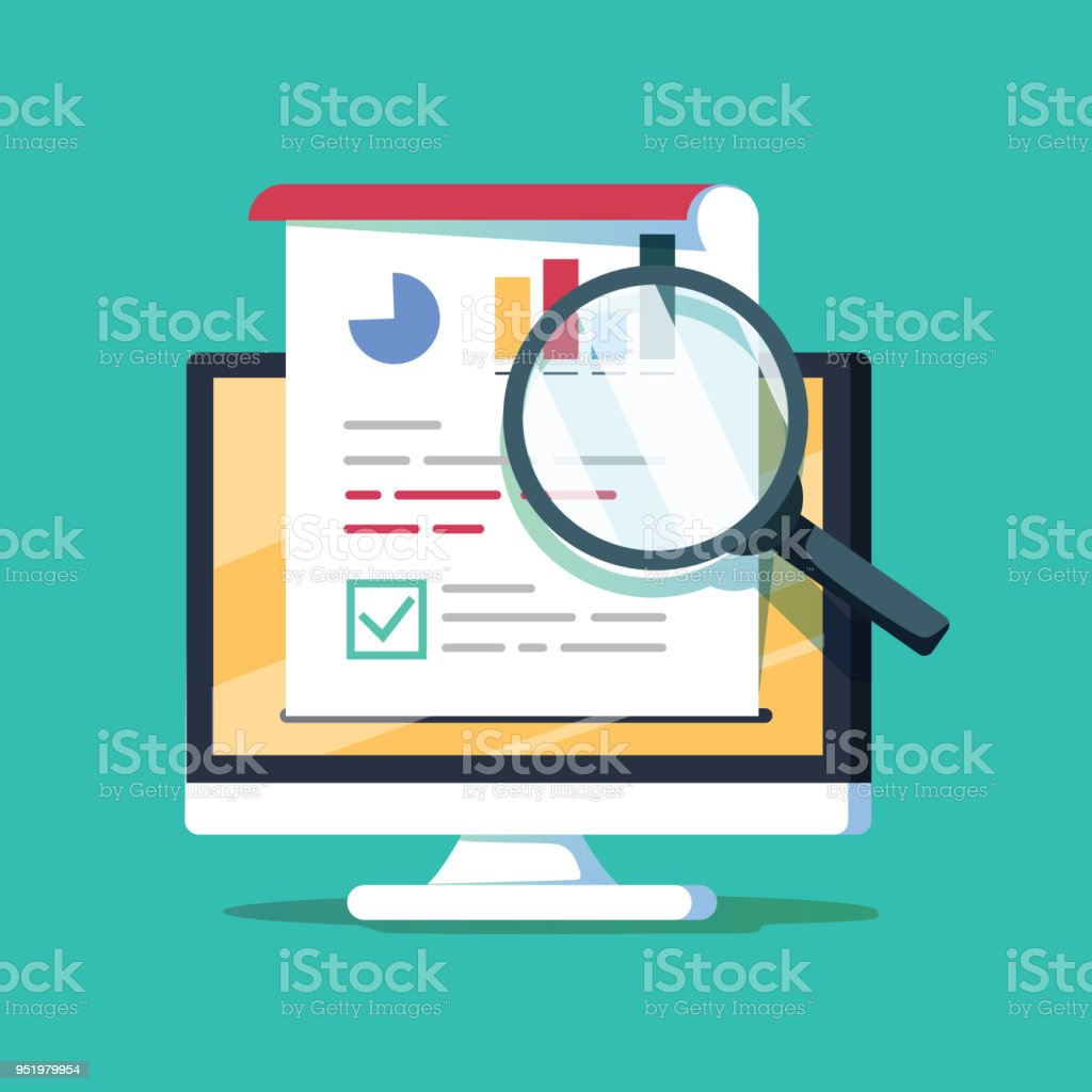 Audit research on computer vector illustration, flat cartoon paper financial report data analysis on pc, vector art illustration