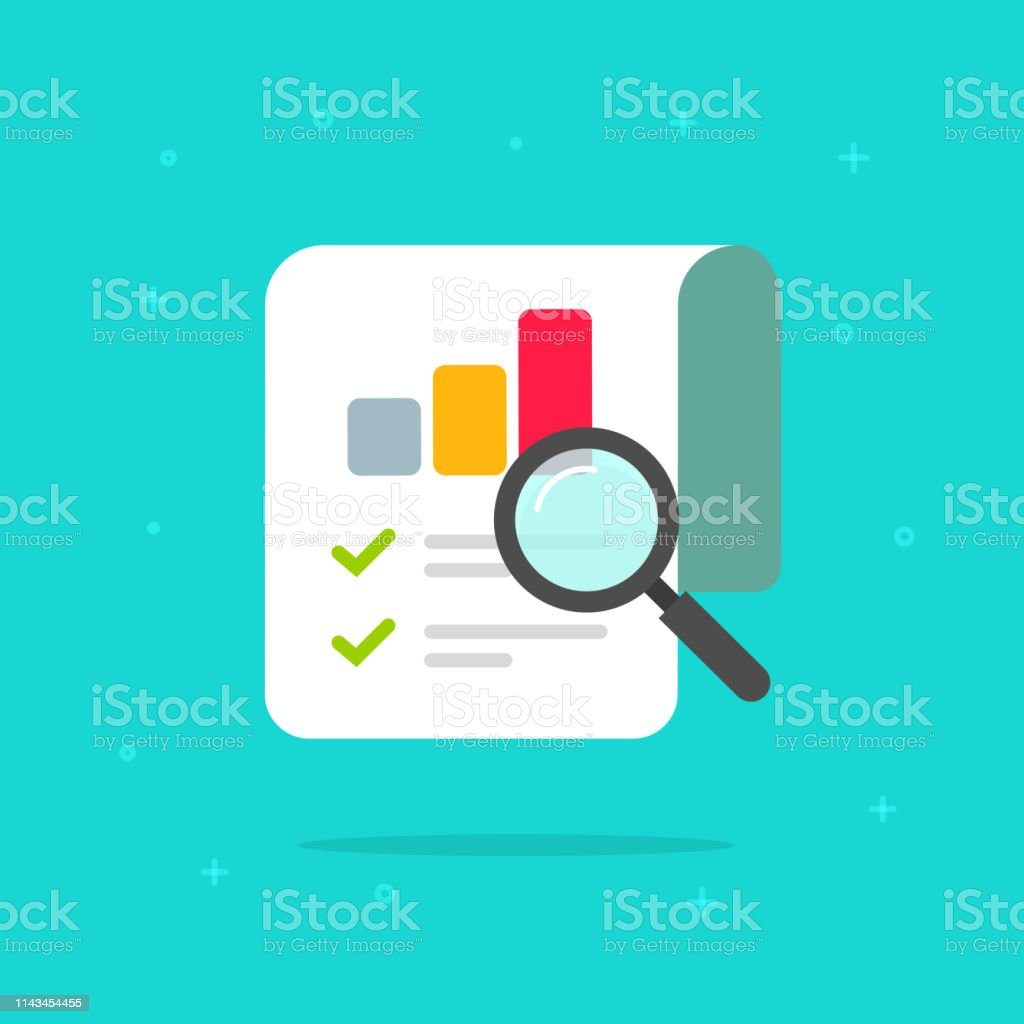 Audit research report icon vector symbol, flat cartoon design quality control evaluation pictogram, financial fraud check or tax analysis sign, concept of accounting or statistic document - Векторная графика Анализировать роялти-фри