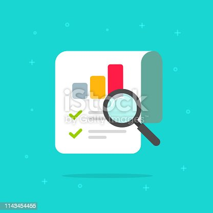 Audit research report icon vector symbol, flat cartoon design quality control evaluation pictogram, financial fraud check or tax analysis sign, concept of accounting or statistic document label