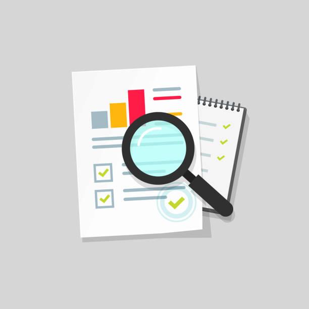 stockillustraties, clipart, cartoons en iconen met audit onderzoek vector icon, platte cartoon de analyse van de gegevens van de jaarrekening van de papier op tafel, concept van boekhoudkundige analytics met grafieken en diagrammen, digitale document succes selectievakje clipart - financieel adviseur