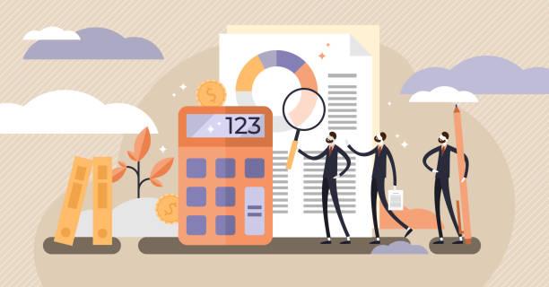 stockillustraties, clipart, cartoons en iconen met audit vectorillustratie. mini personen systematisch onafhankelijk onderzoek. - financieel adviseur