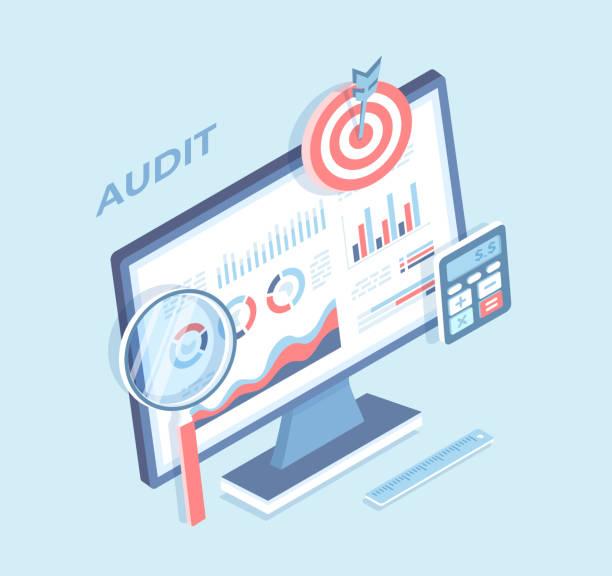 ilustraciones, imágenes clip art, dibujos animados e iconos de stock de auditoría, análisis, contabilidad, cálculo, análisis. gráficos gráficos en la pantalla del monitor, lupa, calculadora, objetivo. crecimiento de los beneficios de la estrategia de negocio. vector 3d isométrico - gerente de cuentas