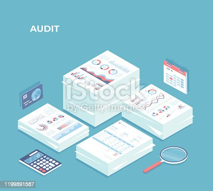 istock Auditing, analysis, accounting, calculation, analytics. Piles of documents for review. Documents with charts graphs, report, magnifying glass, calculator, calendar, credit card. Isometric 3d vector 1199891587