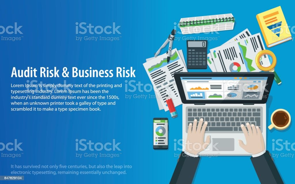 Auditing and business concepts. Hands of a man on a laptop keyboard. Tax process. Research, accounting, analysis, data, project management, planning. vector art illustration
