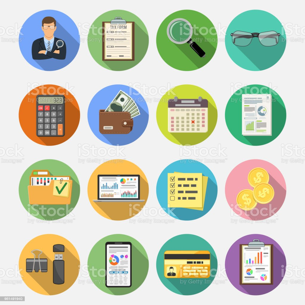 Auditing Tax Accounting Flat Icons Set Stock Illustration - Download