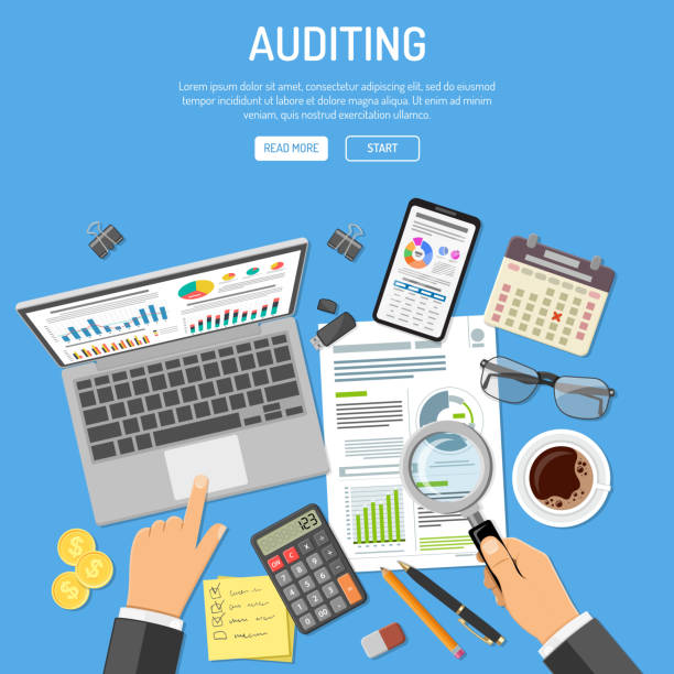Auditing, Tax process, Accounting Concept Auditing, Tax process calculation, accounting Concept. Auditor holds glass in hand and checks financial report. Charts on laptop and smartphone screens. Flat style icons. Isolated vector illustration accountancy stock illustrations