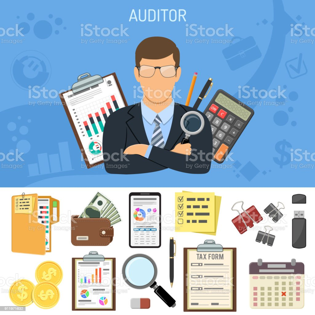 Auditing, Tax process, Accounting Concept vector art illustration
