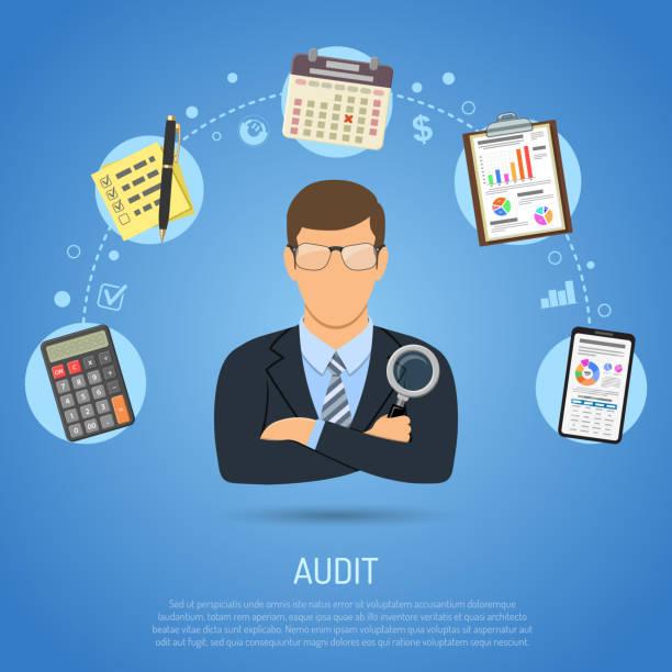 ilustraciones, imágenes clip art, dibujos animados e iconos de stock de auditoría, proceso, concepto de contabilidad de impuestos - asesor financiero