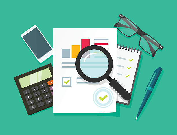Auditor work desk, accounting business research, financial audit, tax report Auditor work desk, accounting paperwork, business research, financial audit, auditing tax process, report data analysis, analytics, financial research report, project desktop vector, color background plan document stock illustrations