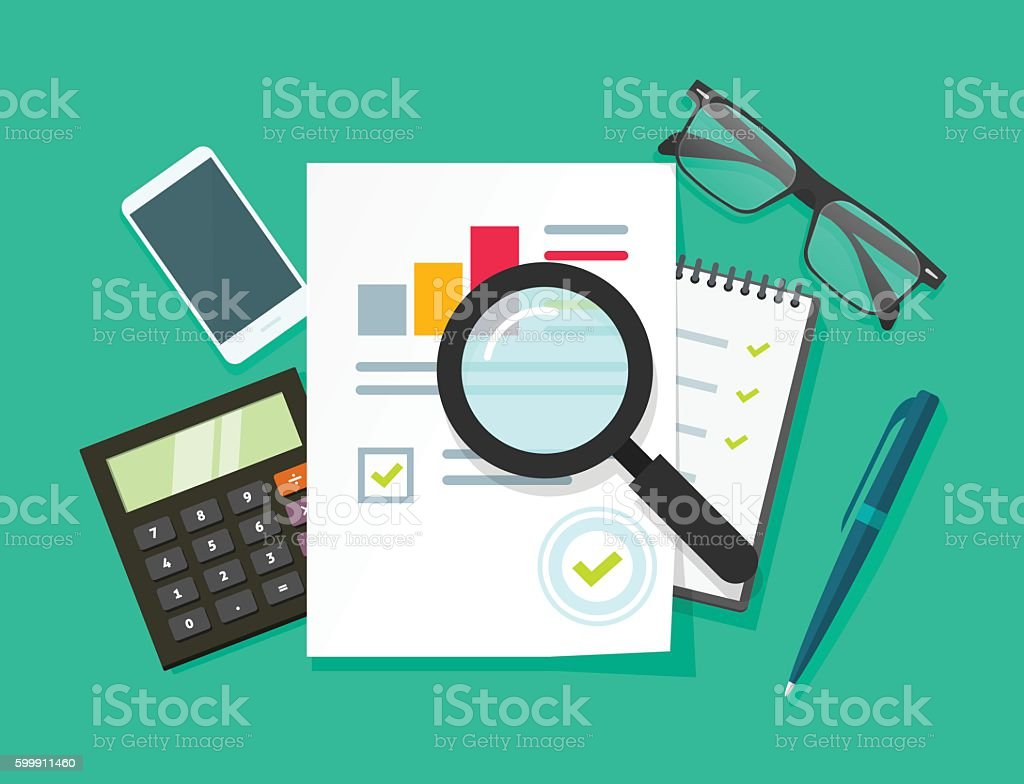 Auditor work desk, accounting business research, financial audit, tax report vector art illustration