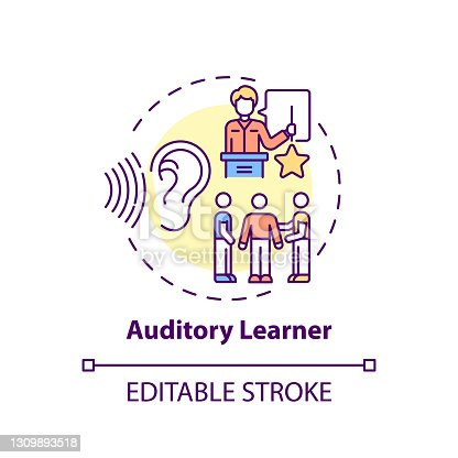 Auditory learner concept icon. Learning by sound. Hearing information. Self development and studying idea thin line illustration. Vector isolated outline RGB color drawing. Editable stroke