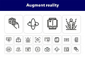 Augment reality line icon set. Holographic human, face id, book reader. Modern technology concept. Can be used for topics like 3d technology, simulation, virtual reality