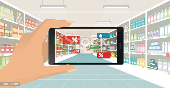 890476604 istock photo Augmented reality and grocery shopping 653127552
