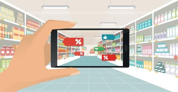 ilustrações de stock, clip art, desenhos animados e ícones de augmented reality and grocery shopping - online shopping