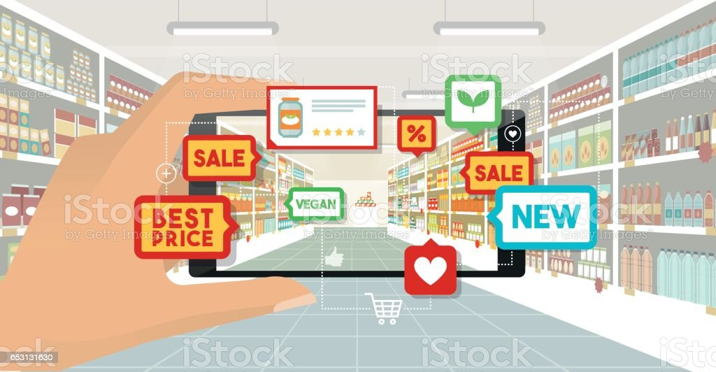 Augmented reality and grocery shopping vector art illustration