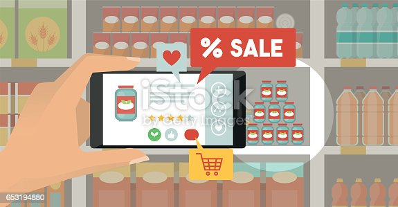 890476604 istock photo Augmented reality and grocery shopping 653194880
