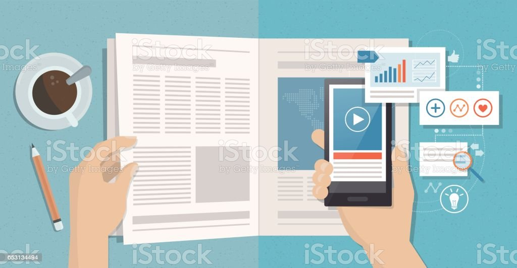 Augmented reality and magazines vector art illustration
