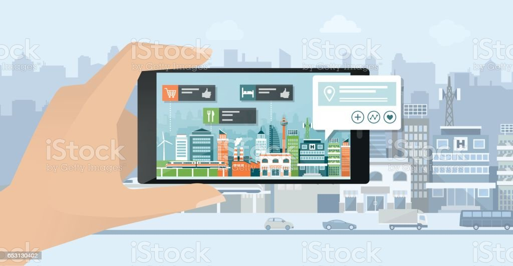 Augmented reality and navigation vector art illustration
