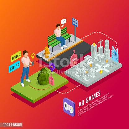 Augmented reality apps and games computer entertainment technology isometric ar poster with different levels experience vector illustration