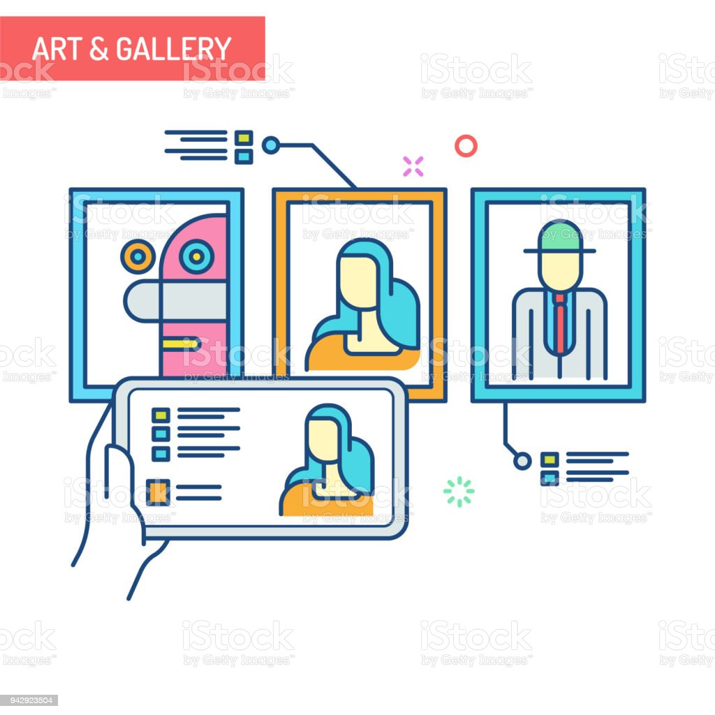 Augmented Reality Concept Art Gallery Stock Illustration - Download Image Now - iStock