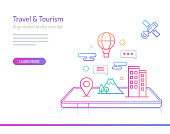 The concept of augmented reality in travel and tourism with hotels, landmarks and air balloons out of mobile phones. Thick line with colorful gradient style vector illustrations.