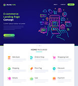 Website design, logo, header illustration and icons related to augmented reality in ecommerce. Landing page - home page template and vector graphic element set. (EPS10)