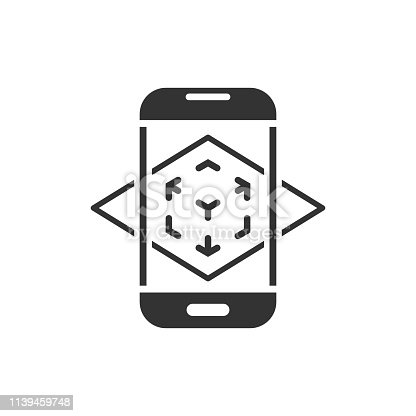 istock Augmented reality icon in flat style. Vr device vector illustration on white isolated background. Technology business concept. 1139459748