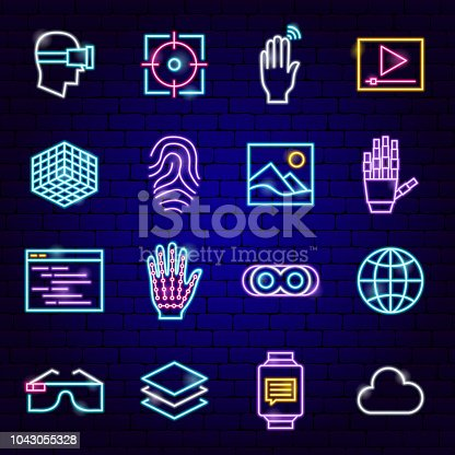 Augmented Reality Neon Icons. Vector Illustration of VR Technology Symbols.