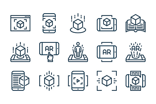 Augmented Reality related line icon set. Interactive simulation and Virtual Reality linear vector icons.