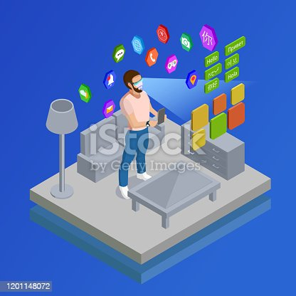 Man in augmented reality smart glasses with computer vision learning foreign language home isometric poster vector illustration