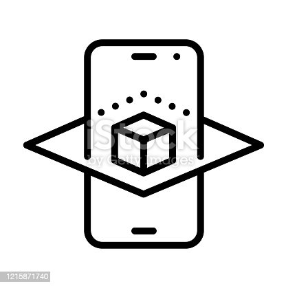 istock Augmented reality smartphone app outline vector icon isolated on white. AR and virtual reality linear icon for web design, mobile apps, ui design and print. Futuristic technology business concept 1215871740