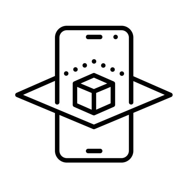 Augmented reality smartphone app outline vector icon isolated on white. AR and virtual reality linear icon for web design, mobile apps, ui design and print. Futuristic technology business concept Augmented reality smartphone app outline vector icon augmented reality stock illustrations