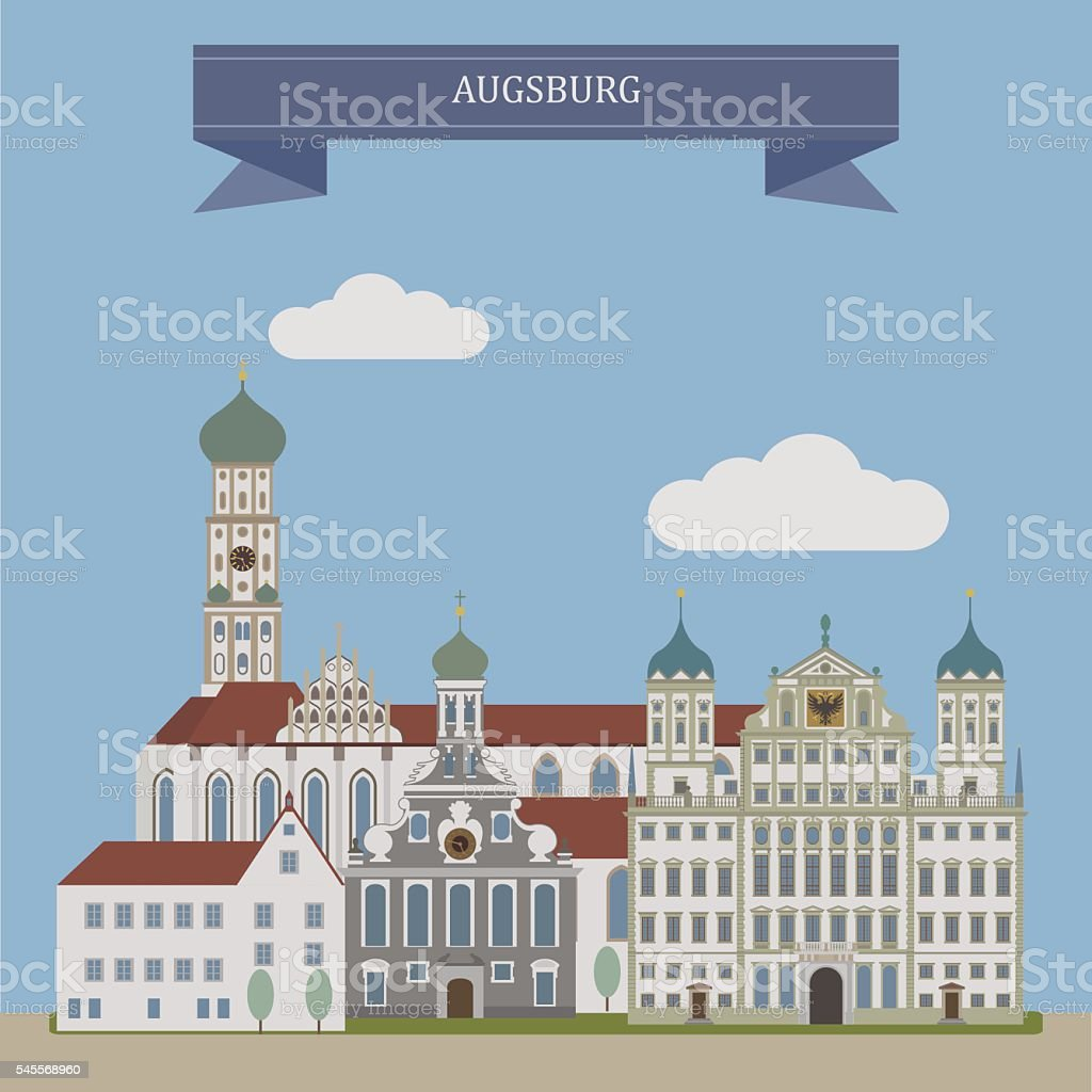 Augsburg, city in Germany – Vektorgrafik