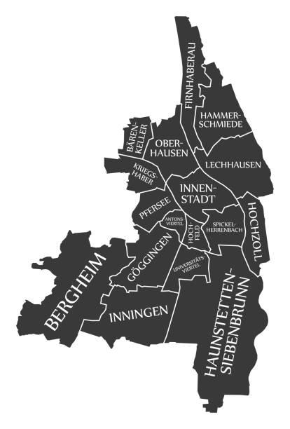 Augsburg City Map Deutschland DE schwarz Abbildung gekennzeichnet – Vektorgrafik