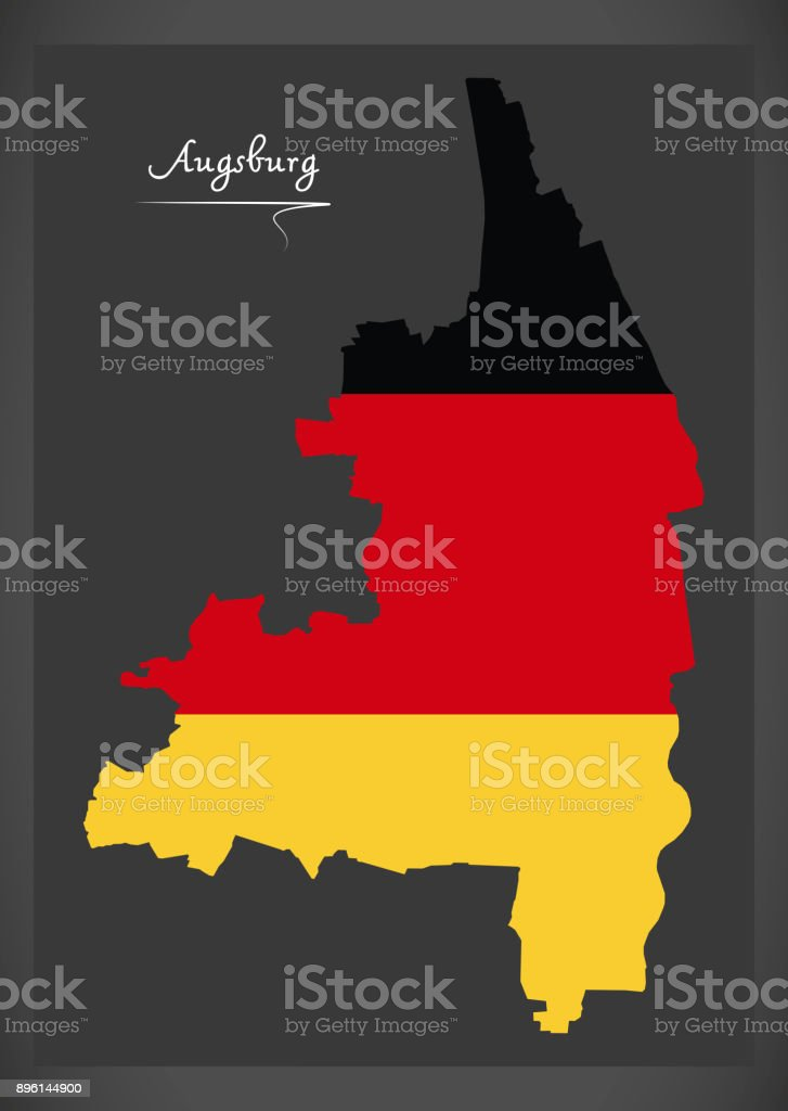 Augsburg Stadtplan mit deutschen Nationalflagge illustration – Vektorgrafik